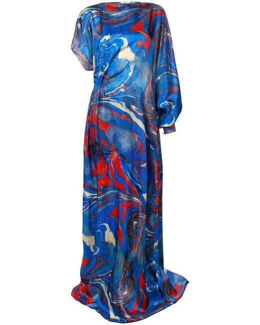 Rosie Assoulin - Blue Marble Print Asymmetric Dress - Lyst