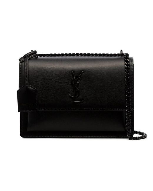 Lyst - Saint Laurent Black Sunset Medium Leather Shoulder Bag in Black c5a5c9205f95f