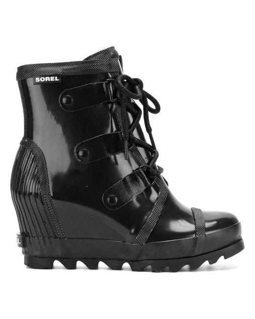 Sorel - Black Joan Rain Wedge Chelsea Gloss (collegiate Navy/ Atmosphere) Women's Waterproof Boots - Lyst