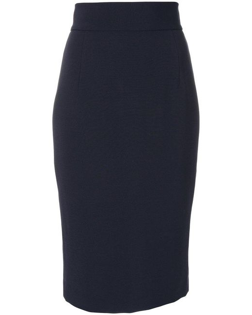 dondup high waisted fitted skirt in blue save 50 lyst