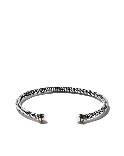 David Yurman - Metallic 18kt Yellow Gold Accented Sterling Silver Cable Cuff Bracelet - Lyst