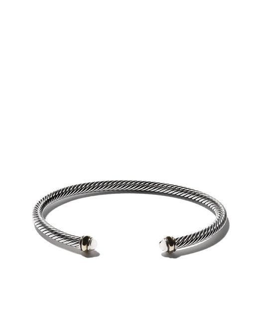 David Yurman - Multicolor 18kt Yellow Gold Accented Sterling Silver Cable Cuff Bracelet - Lyst