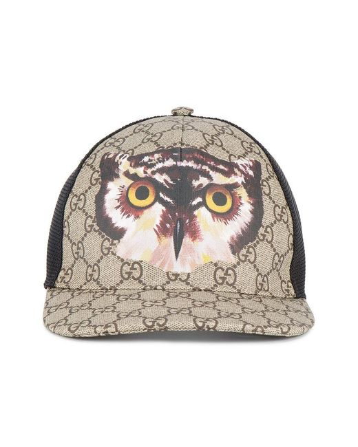 b4f9d2055bd62 Gucci Owl Print Gg Supreme Baseball Hat in Brown for Men .