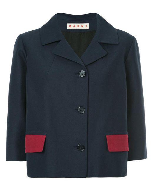 Marni | Blue Sheen Single Breasted Blazer | Lyst