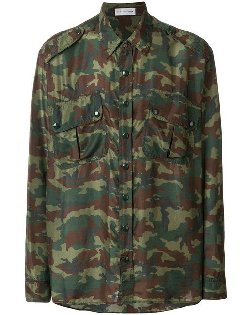 Faith Connexion - Green Camouflage Print Shirt for Men - Lyst