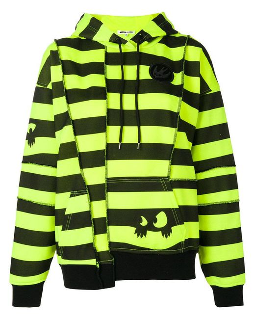 McQ Alexander McQueen - Yellow Striped Deconstructed Panel Hoodie - Lyst