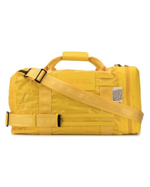 DIESEL - Yellow Sporty Detailing Duffel Bag for Men - Lyst