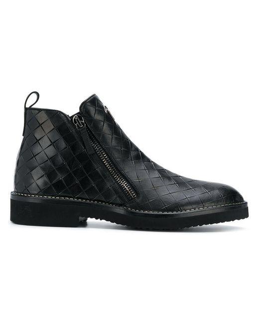 Giuseppe Zanotti - Black Woven Ankle Boots for Men - Lyst