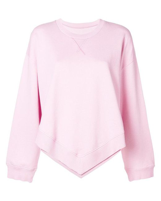 MM6 by Maison Martin Margiela - Pink Pointed Hem Sweatshirt - Lyst