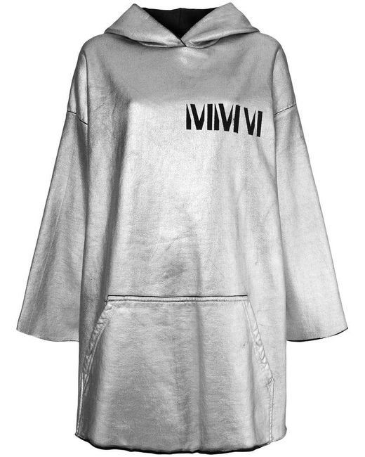 MM6 by Maison Martin Margiela - Gray Long Hoodie - Lyst