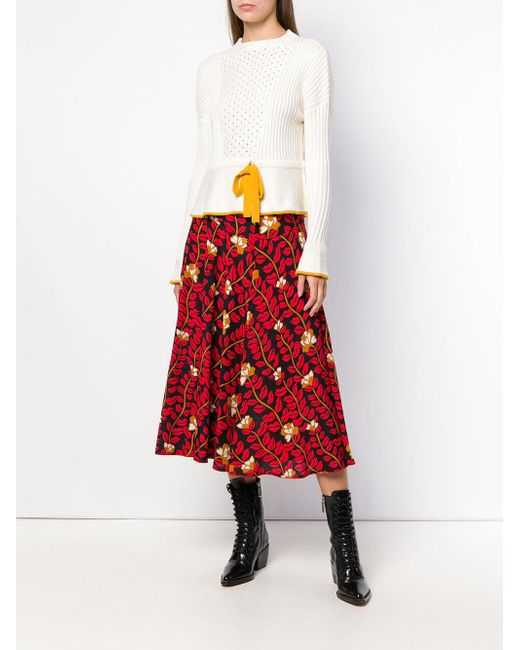 28945f7ed2f72a ... Sonia Rykiel - Red Lonf Printed Skirt - Lyst ...