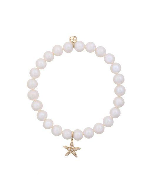 Sydney Evan - White Fresh Water Pearls Beaded Bracelet With Diamond Starfish Charm - Lyst