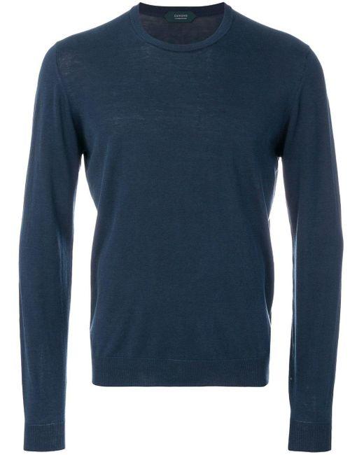 Zanone - Blue Long Sleeved Sweatshirt for Men - Lyst