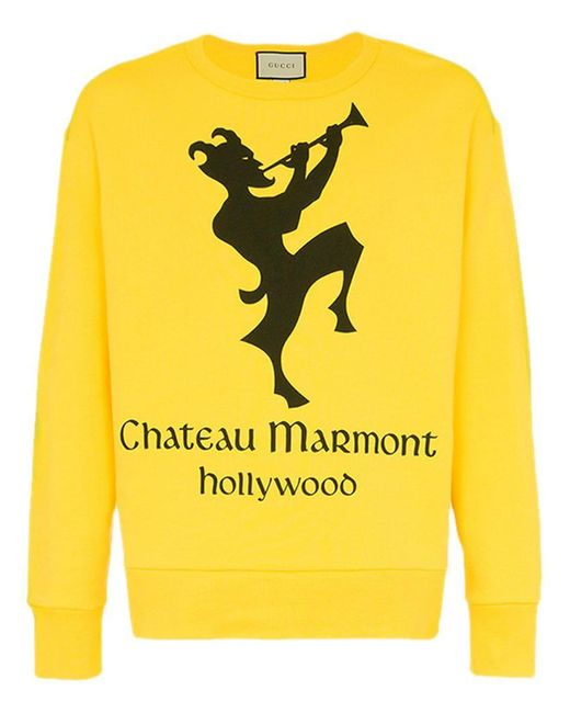 "Gucci - Yellow Sweatshirt mit ""Chateau Marmont""-Print for Men - Lyst"