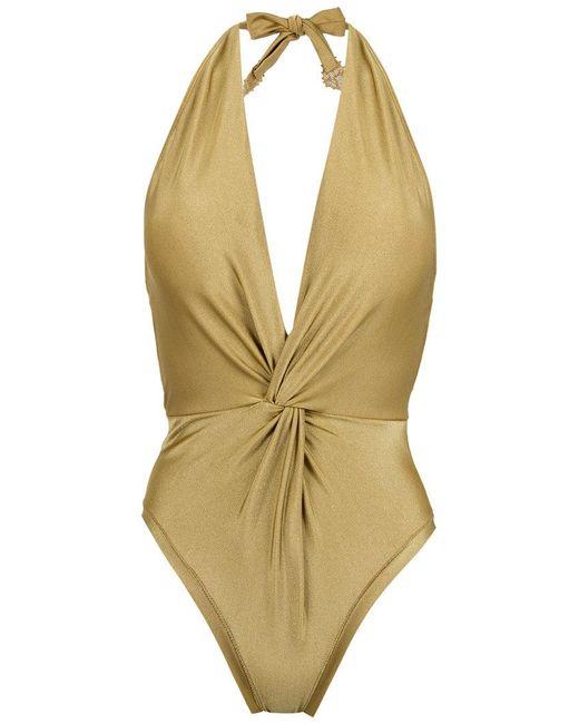 Martha Medeiros - Multicolor Halterneck Twisted Detail Swimsuit - Lyst