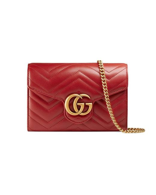 c87a1e2465b Gucci GG Marmont Matelassé Mini Bag in Red - Save 9% - Lyst