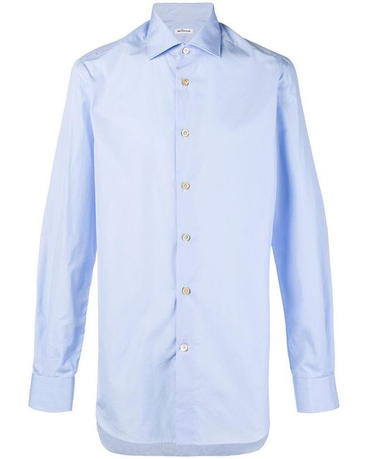 Kiton - Blue Plain Button Shirt for Men - Lyst