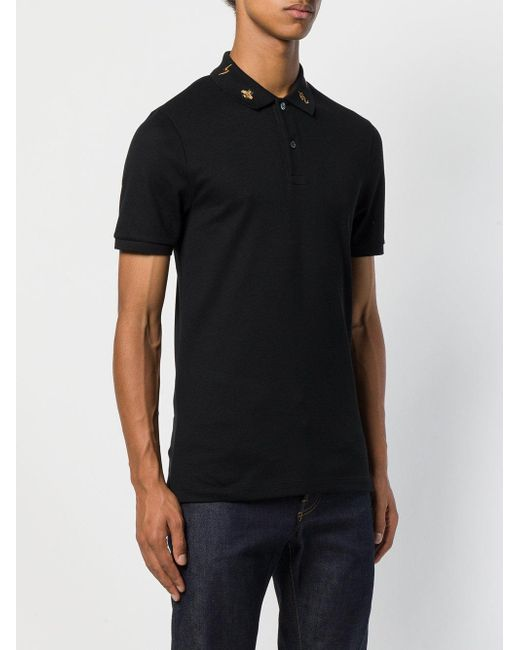 907c3f4afcc ... Gucci - Black Embroidered Collar Polo Shirt for Men - Lyst ...