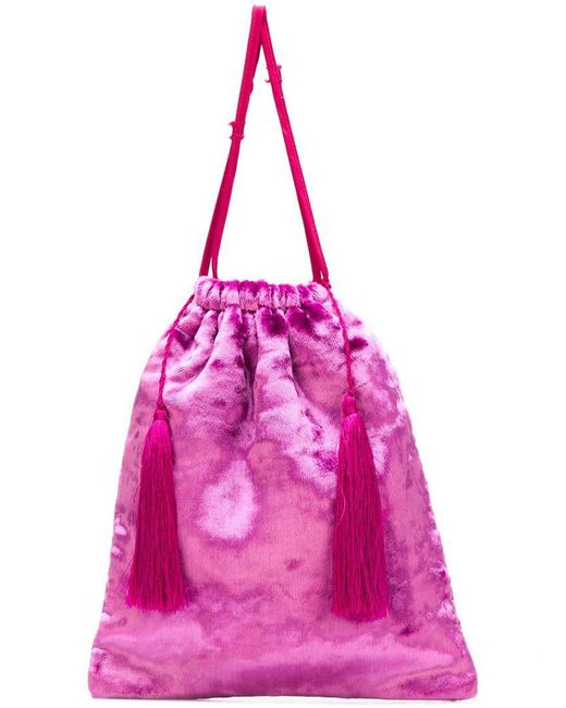 Attico - Pink Drawstring Pouch Tote - Lyst