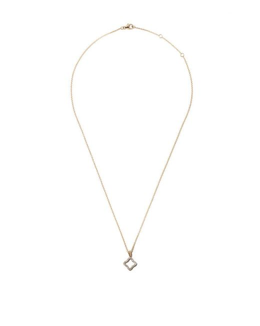 David Yurman - 18kt Yellow Gold Cable Collectibles Quatrefoil Diamond Pendant Necklace - Lyst