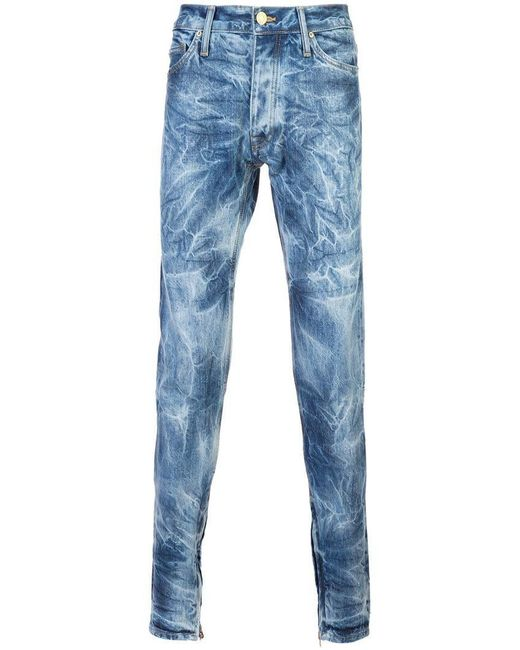 aacf1b42 Lyst - Fear Of God Bleached Effect Slim-fit Jeans in Blue for Men ...