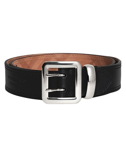 Burberry - Black Topstitch Detail Belt - Lyst