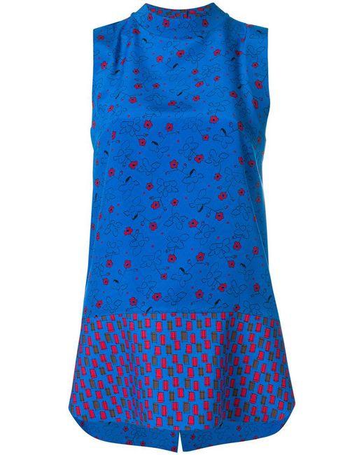 Marni - Blue Sleeveless Tunic Blouse - Lyst