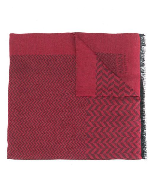 Armani | Red Long Frayed Scarf | Lyst
