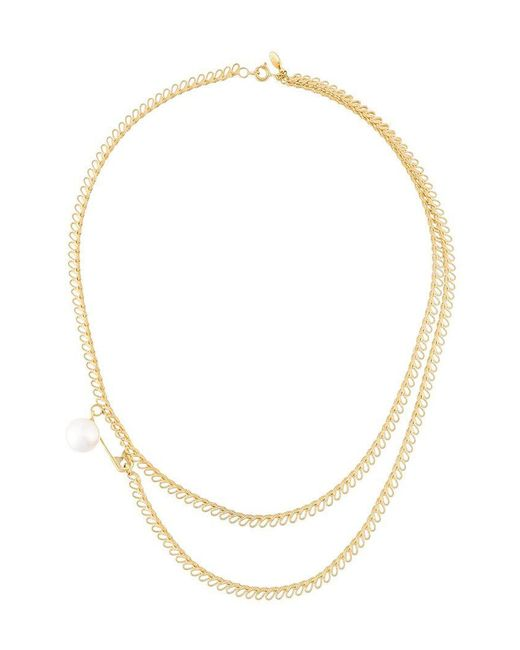 Wouters & Hendrix - Yellow My Favourite Safety Pin And Pearl Necklace - Lyst