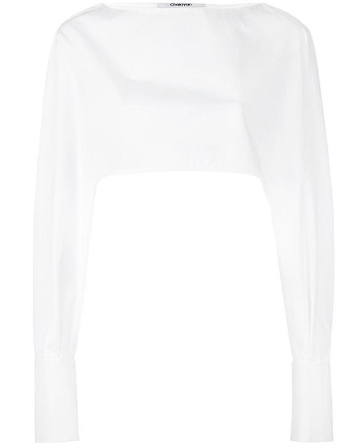 Chalayan - White Cropped Cuff Detail Blouse - Lyst