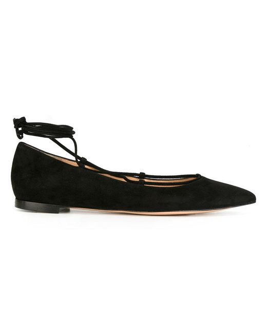 Gianvito Rossi | Black Lace-up Ballerina Shoes | Lyst