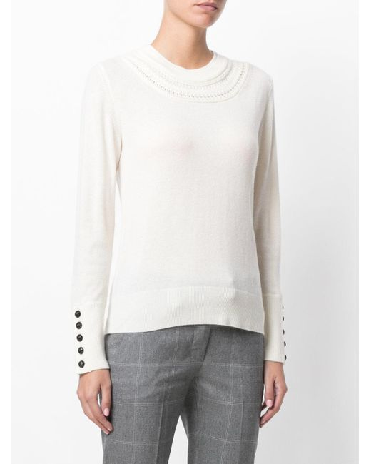Burberry Cashmere Cable Knit Yoke Sweater in White | Lyst