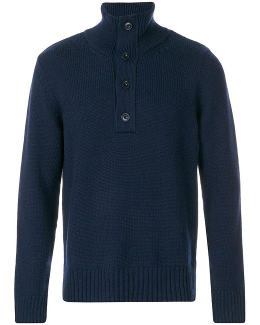 Closed - Blue Buttoned High Neck Jumper for Men - Lyst