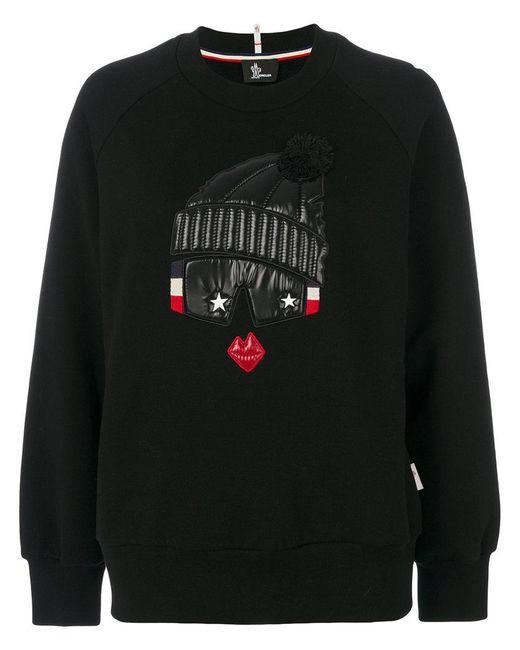 Moncler Grenoble | Black Embroidered Pull-over Sweater | Lyst