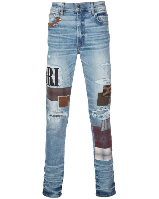 Amiri Blue Skinny Patchwork Jeans for men