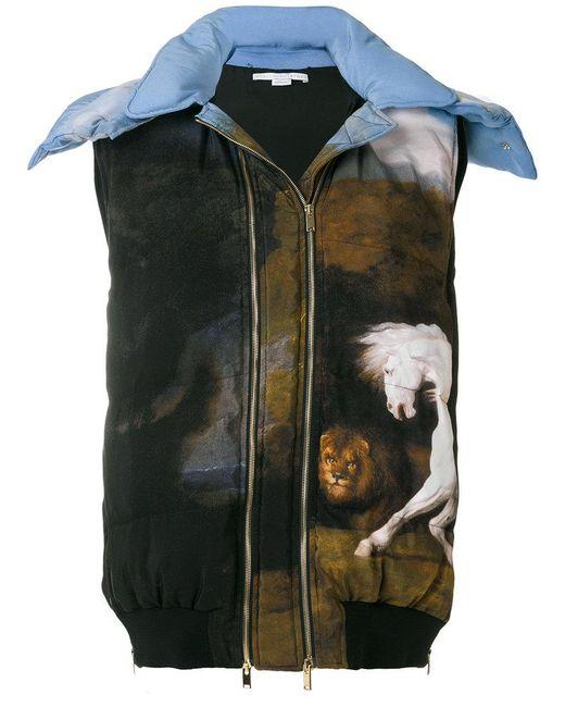 Stella McCartney | Blue Paint Print Hooded Gilet | Lyst