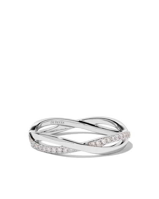 De Beers - 18kt White Gold Infinity Half Pave Diamond Band - Lyst