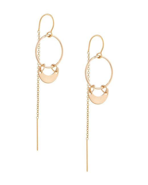 Petite Grand - Metallic Mini Crest Thread Through Earrings - Lyst