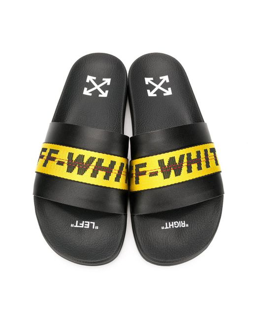 eb9611c3542e ... Off-White c o Virgil Abloh - Black And Yellow Industrial Strap Slides  for ...