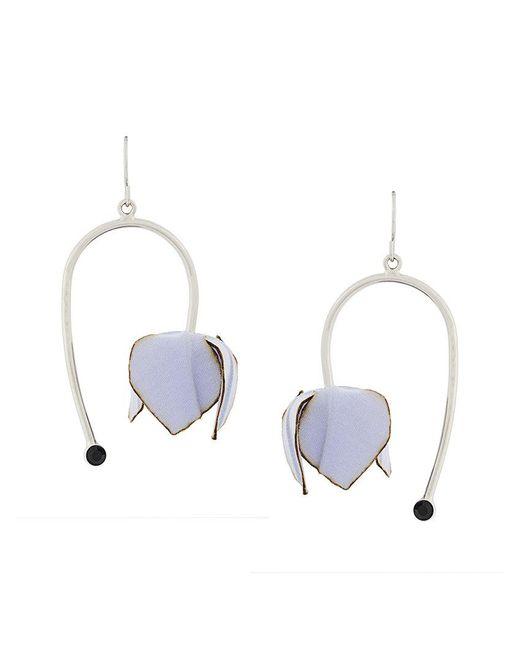 Marni - Metallic Floral Pendant Earrings - Lyst