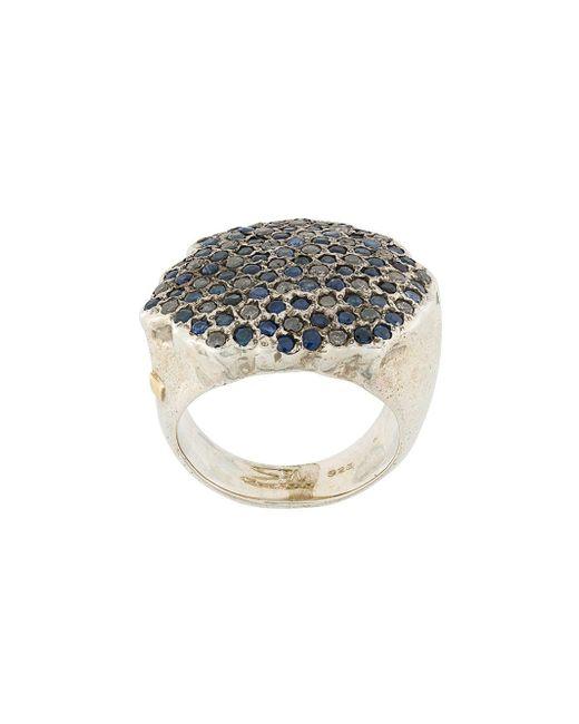Rosa Maria Metallic Pave Diamond And Sapphire Ring