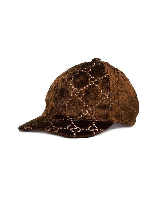 f164588c892 Gucci Metallic Velvet-jacquard Baseball Cap in Brown - Save 3% - Lyst