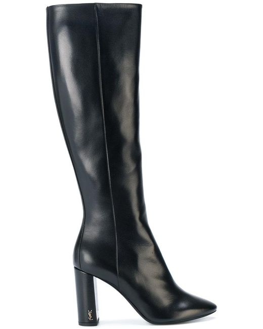 8ba518bf4d4 Saint Laurent - Black Heeled Knee Boots - Lyst ...