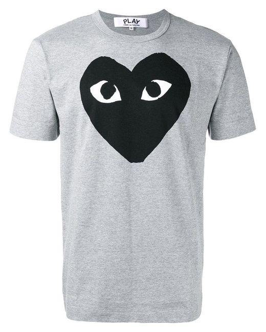 Play Comme des Garçons | Gray Heart Print T-shirt for Men | Lyst