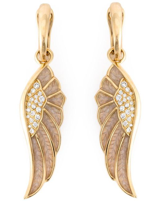 Garrard | Metallic Diamond Detail Wing Earrings | Lyst