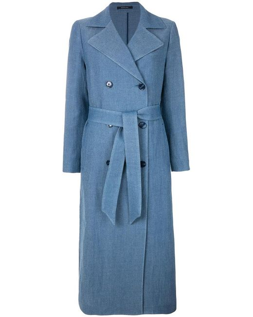 Tagliatore - Blue Belted Trench Coat - Lyst