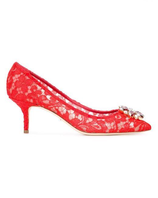Dolce & Gabbana - Red Bellucci Lace Pumps - Lyst