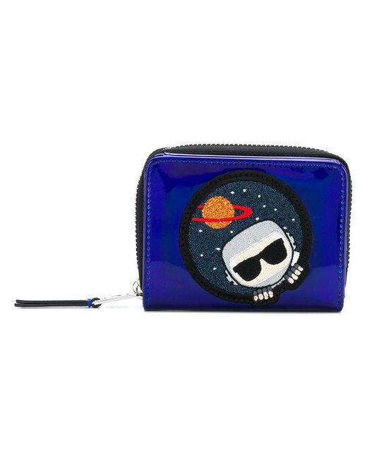 Karl Lagerfeld - Blue K/space Zip Around Wallet - Lyst