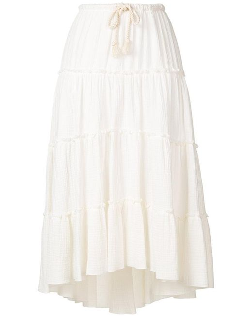 See By Chloé - White Frill Trim Flared Skirt - Lyst