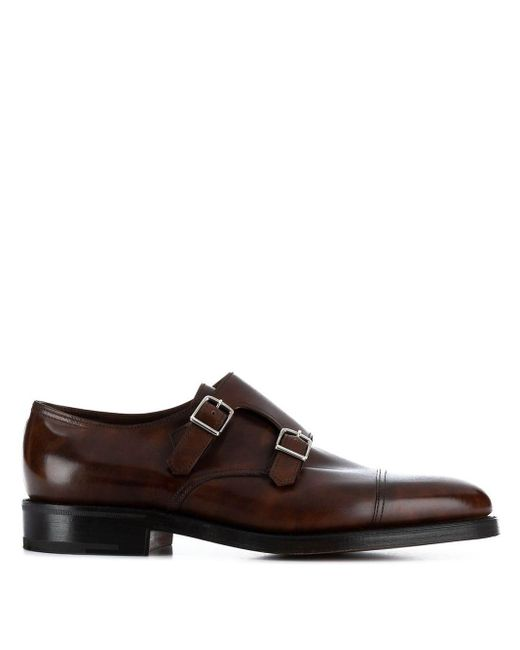 Zapatos monk Willian John Lobb de hombre de color Brown